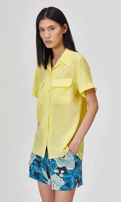 歐單 EQUIP 新款 親膚柔軟 18m/m 重砂洗真絲 微寬鬆小翻領短袖襯衫上衣 兩色 (T1247)