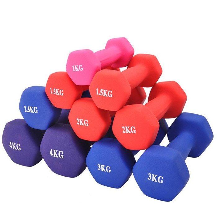 【奇滿來】彩色 女用 包膠啞鈴 0.5KG*2隻 一對1KG 跳操啞鈴 健身 減肥塑身 瘦臂 韻律有氧 瑜珈 AAEJ