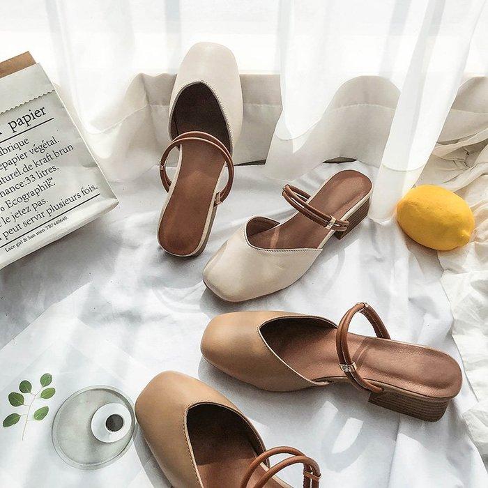 爆款--包頭涼鞋女夏季新款粗跟兩穿涼拖時尚中跟仙女風瑪麗珍奶奶鞋#鞋子#涼鞋#百搭#時尚