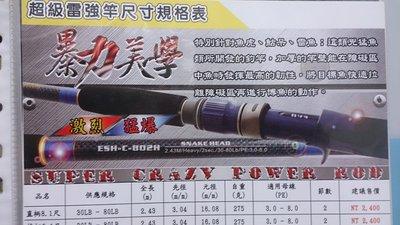 《屏東海豐》EVO 海力士 暴力美學 超級雷強竿 並繼 槍柄/直柄 8尺 30~80磅