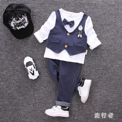 男童禮服 西裝套裝男童秋潮韓版0英倫小西服寶寶周歲禮服兩件套 BF22593