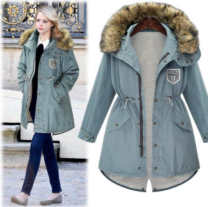 GOGO SHOP☆╭歐美時裝 occident冬季新款加厚毛里工裝收腰連帽外套大衣【Y1347】S~XL另洋裝防風外套