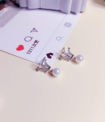 加恩純銀皇冠珍珠耳釘 甜美清新氣質搭檔獨特設計風格銀飾送女友-jen99