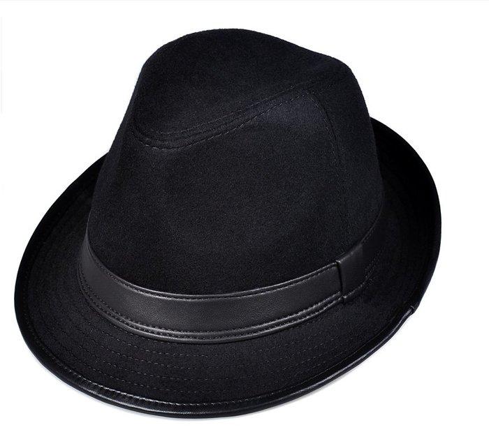 ~皮皮創~原創設計手作羊毛呢紳士帽。男女通用 秋冬款 英倫風復古時髦羊皮拼接毛呢小禮帽黑灰2色