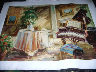 『溫馨的家』手工油畫原作無框長寬約48x37公分最美麗耀眼的一幅油畫