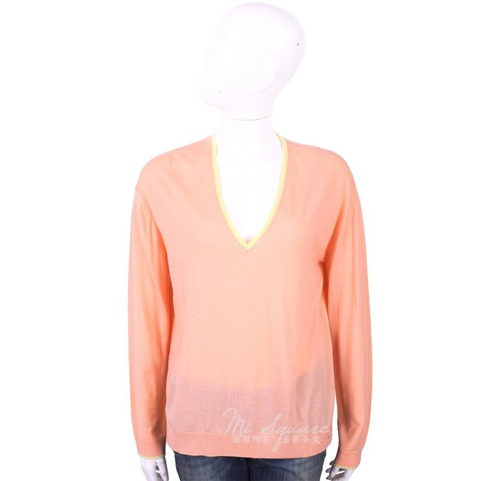 米蘭廣場 ALLUDE 100%羊毛粉橘色補丁細節V領針織衫 1740243-39