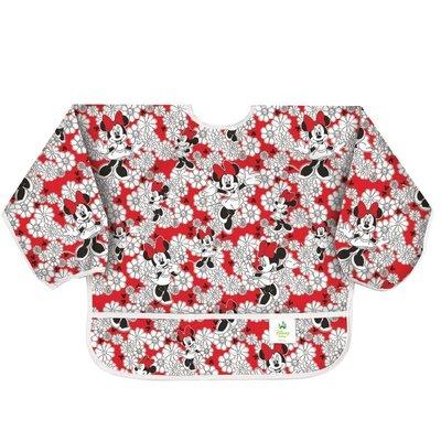 【小糖雜貨舖】美國 Bumkins Sleeved Bib 防水防臭長袖圍兜口水巾 嫣紅米妮