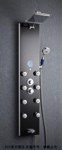 《101衛浴精品》黑色強化玻璃鏡面淋浴柱-787-392-B,8噴頭,噴嘴可拆洗【貨到付款 免運費】
