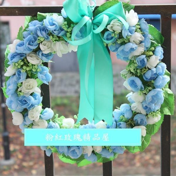 粉紅玫瑰精品屋~海洋藍色歐式仿真花環門飾掛飾聖誕婚禮吊飾~