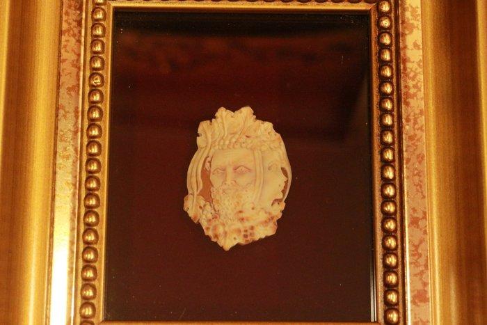 【家與收藏】特價稀有珍藏法國博物館級古董手工CAMEO精緻神話浮雕稀有款大貝雕掛飾