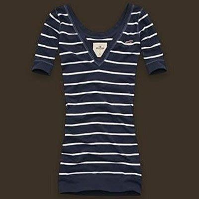 破盤清倉大降價!全新美國帶回 Hollister Crest Canyon 深藍底白條紋短袖上衣,低價起標無底價!免運費