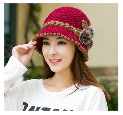 東大門平價鋪 . 女秋冬天加絨保暖盆帽,中老年針織毛線帽潮,防寒加厚護耳帽子
