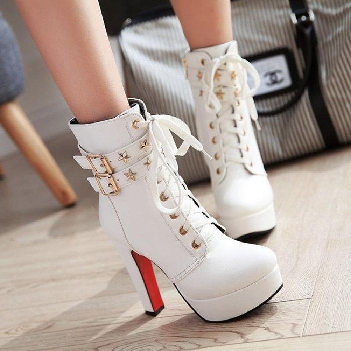 加絨防水臺超高跟短靴英倫系帶馬丁靴粗跟歐美秋冬季女鞋靴子