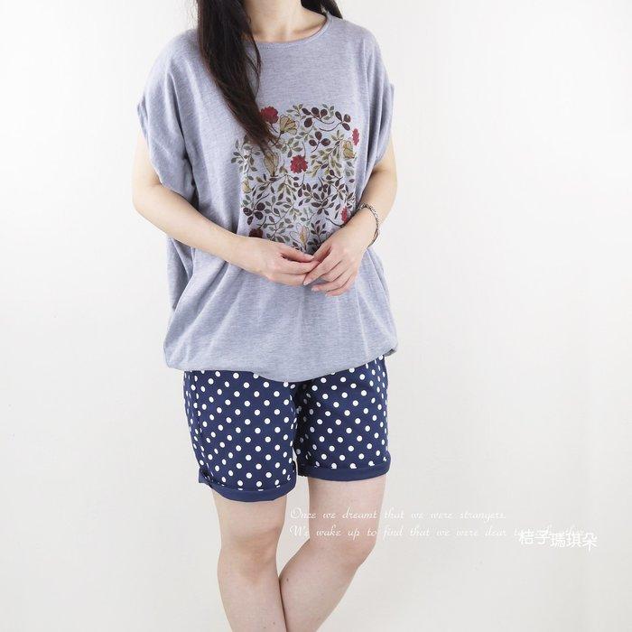 正韓 韓國連線 點點風五分短褲 膝上褲(靛藍、粉紅) ~惠衣。桔子瑪琪朵