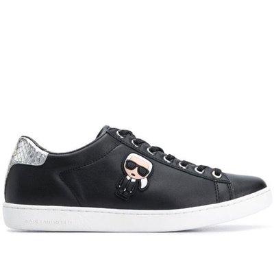 Karl Lagerfeld logo plaque low top sneakers 女老佛爺Logo皮革運動鞋 限時折扣代購中