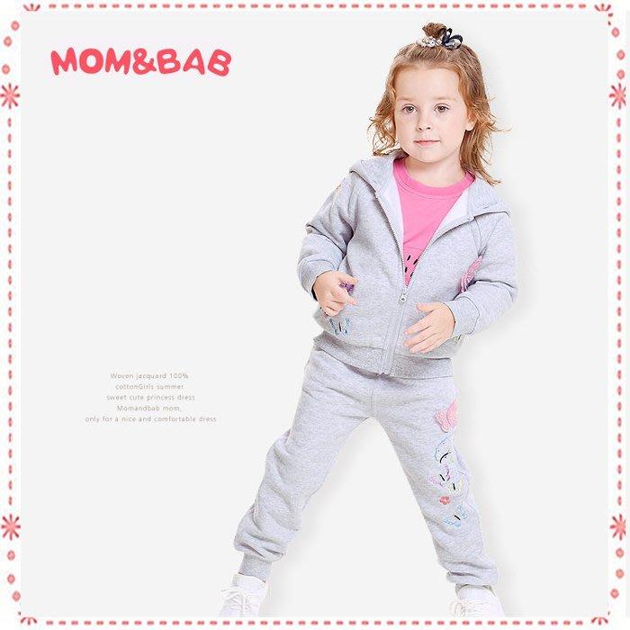 貝克比比屋☆秋冬mom and bab刷毛立體蝴蝶長袖套裝/外套套裝*18m、24m、3T、4T、5T、6T7T