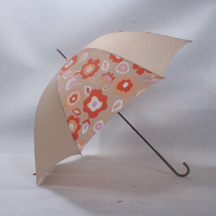 奇奇店-卡其色抽象藝術花卉皮革手開女士優雅長柄晴雨傘#加固 #小清新 #晴雨兩用