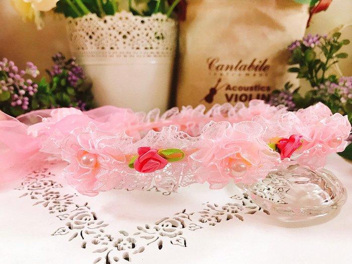 【華蕊】* A款小花珍珠兒童頭紗 * 髮圈 小花童 公主頭紗 甜美 可愛 蕾絲 花環
