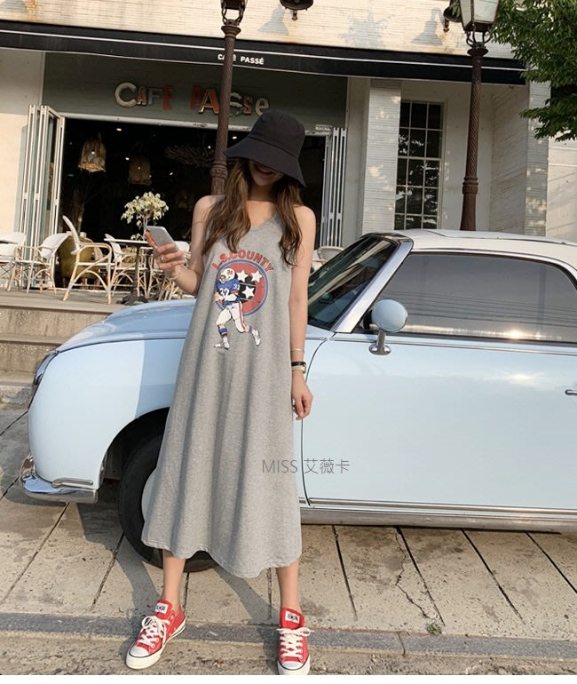【Miss_艾薇卡】韓國進口 代購 [T4353】N9  簡約休閒印花細肩帶連身裙  現貨