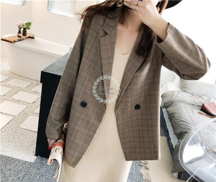 【2A Two】正韓☘復古小格子 格紋⌒寬鬆⌒品味⌒西裝外套『381013006』