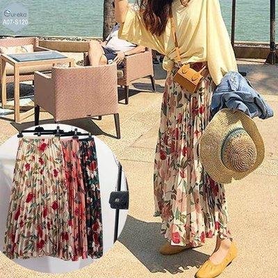 現貨 ⓔureka A07-S120 百褶裙 雪紡 花朵 中長裙 半身裙