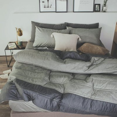 MIT精梳棉-薄床包鋪棉兩用被套組/雙人加大【艾維斯-黑灰】絲薇諾