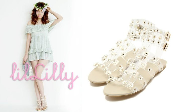 SHINY SPO 獨家代理日本品牌lilLilly 可愛甜美度假風透明帶星星&花朵綴飾平底羅馬涼鞋