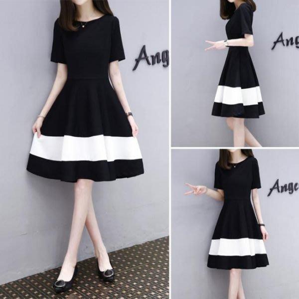 洋裝女裝正韓顯瘦大碼黑白拼接中長款時尚氣質A字連衣裙