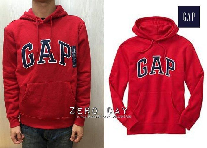 【零時差美國時尚網】GAP專櫃真品Factory arch logo hoodie立體貼布字母高質感刷毛連帽TEE-紅色