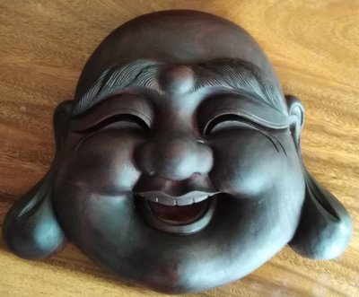 (viataiwan) 彌勒佛 福神爺 木雕 掛飾 古董 原木 三義木雕
