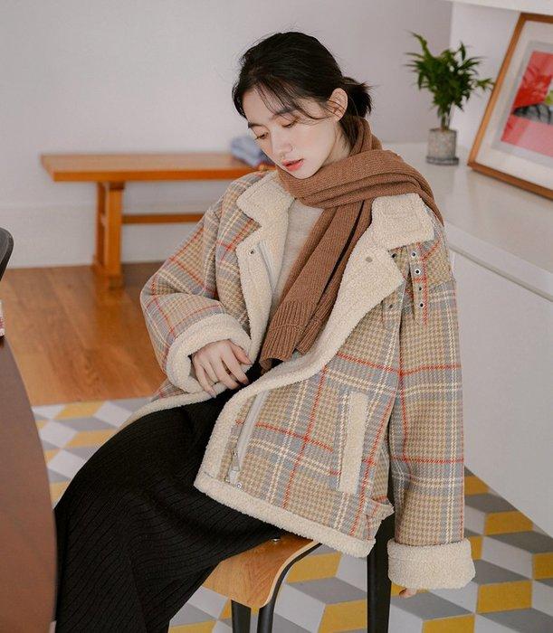 SeyeS  率性時尚格紋羊羔毛保暖騎士翻領夾克外套