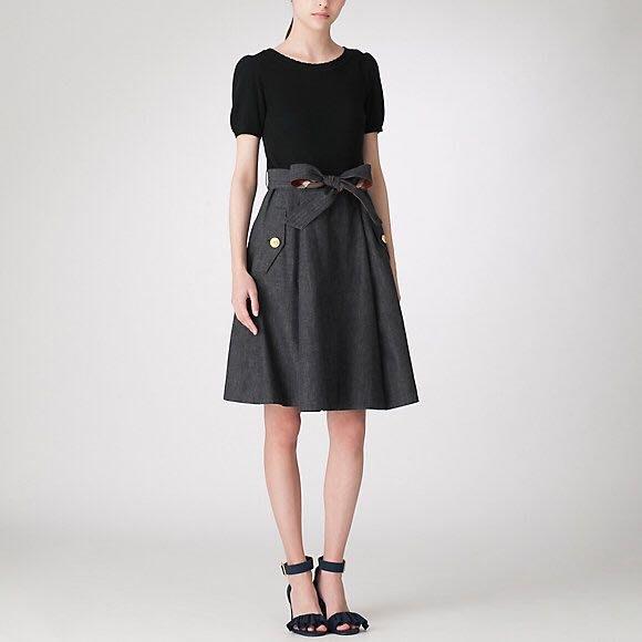 預購 日本限定 Blue Label crestbridge 棉混針織公主袖上衣 牛仔布料裙 附腰帶 洋裝 黑色