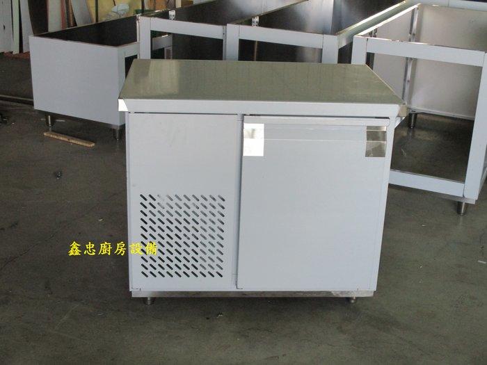 鑫忠廚房設備-餐養設備:手工冰箱系列-三尺工作檯冰箱-賣場有-西餐爐-烤箱-水槽-快炒爐