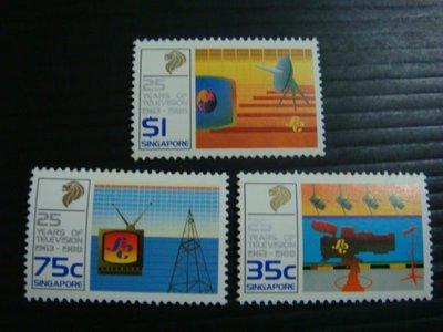 【大三元】新加坡郵票- SP134電視郵票~1988年發行~新票~~原膠3全1套