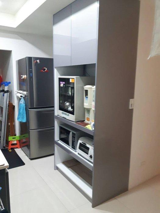 完美廚具 98公分超寬 電器櫃 含托盤 插座 客製化設計 櫃體含結晶鋼烤門板及側板 總價只要16200元加送緩衝門