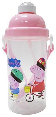 正版授權Peppa pig 佩佩豬/喬治彈跳吸管水壺-480ml