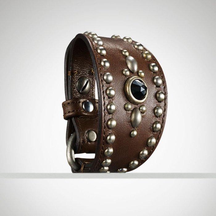 大降價!全新 Ralph Lauren 經典咖啡色皮革卯釘鑲珠珠手鍊手環,義大利製,低價起標無底價!本商品免運費!