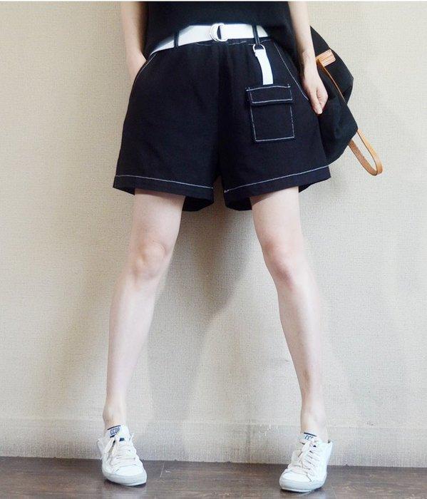 好棒棒衣舍_夏季寬鬆棉質腰帶休閒短褲_清新知性纖感