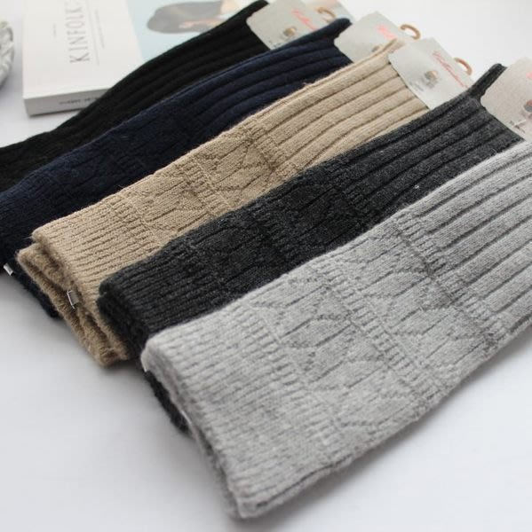 日本羊毛襪 堆堆襪 保暖襪 加厚保暖 復古風 條紋 女士中筒襪 短靴 襪子