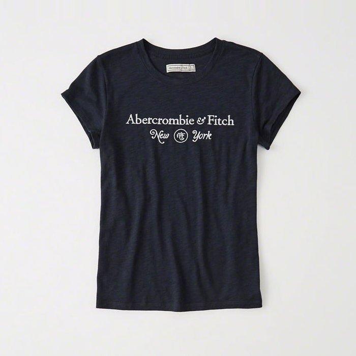美國百分百【Abercrombie & Fitch】T恤 AF 短袖 T-shirt 短T 麋鹿 女 深藍 s號 I360