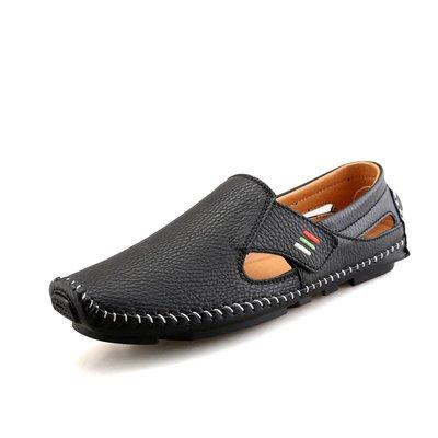 【時尚先生男裝】大碼男鞋特大碼男鞋超纖春夏休閑皮鞋駕車懶人豆豆鞋 2005240139