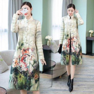 靚絲面棉襖女中長款輕薄外套復古中國風印花修身大尺碼洋裝