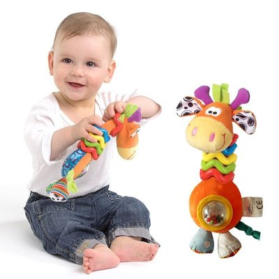Mumma Bubba手抓搖鈴毛絨長頸鹿搖鈴轉珠響聲玩具