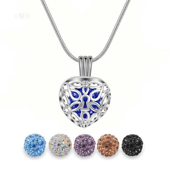 昌達銅鍍銀小鉆球項鏈吊墜心形花卉鏤空珍珠籠子項飾飾品 新麗小舖
