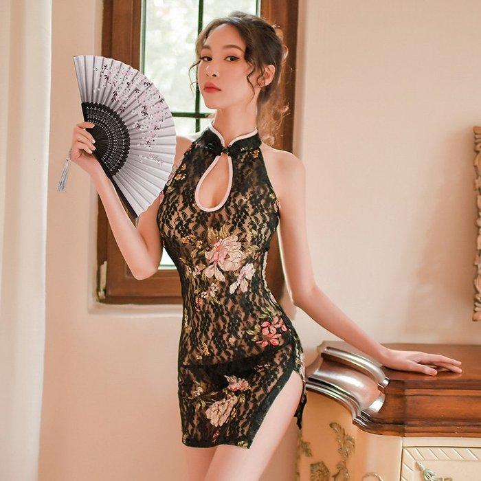 性感睡衣 創意性感 誘惑性感旗袍情趣睡衣挑逗騷透明蕾絲內衣緊身夜店包臀裙火辣激情套裝