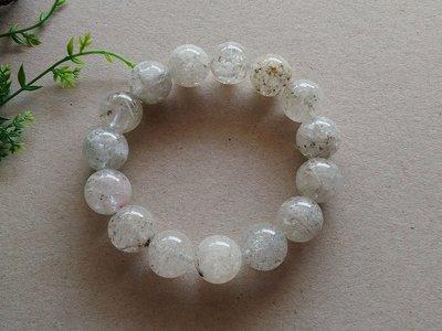 簡單Simple。現貨。00376號天然白髮晶雪霜幽靈水晶髮雪霜髮手珠手鍊。15MM。