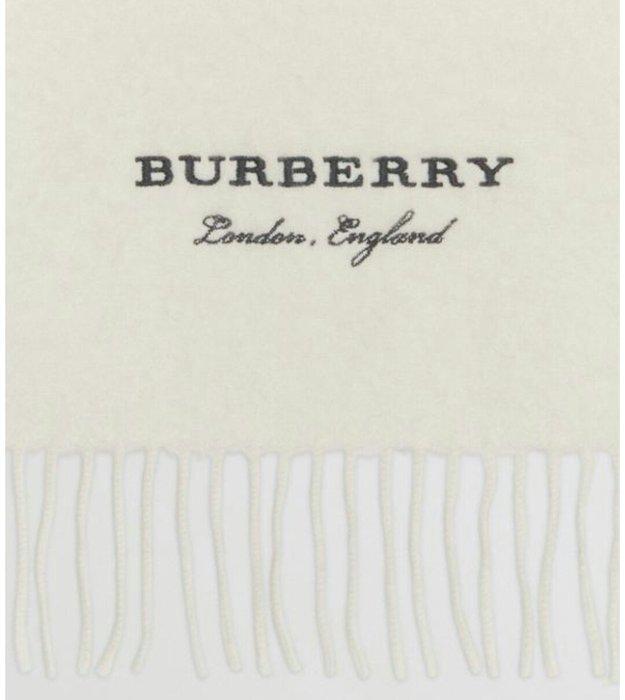 天使熊雜貨小舖~BURBERRY 刺繡LOGO羊絨圍巾  約27×218cm 意大利製 全新現貨