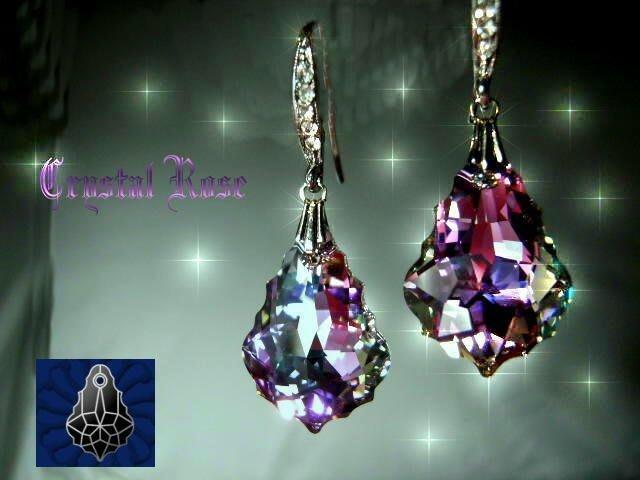※水晶玫瑰※ SWAROVSKI 大巴洛克葉水晶吊墜 進口鑲鑚耳勾式耳環(DD043)~9色可選