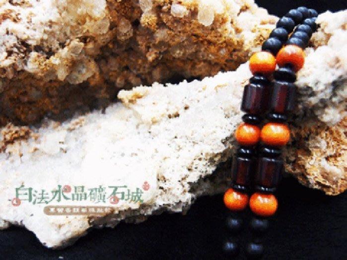 白法水晶礦石城 手工製作 黑瓷珠&木珠&金剛結& 橘色木珠 鍊寬5.5mm項圈 項鍊 材料(團購區九折)-3條1標