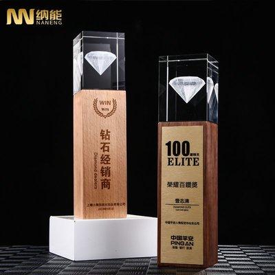 預購款-水晶獎杯定制創意實木質獎牌定做內雕授權杯制作榮譽獎杯優秀員工